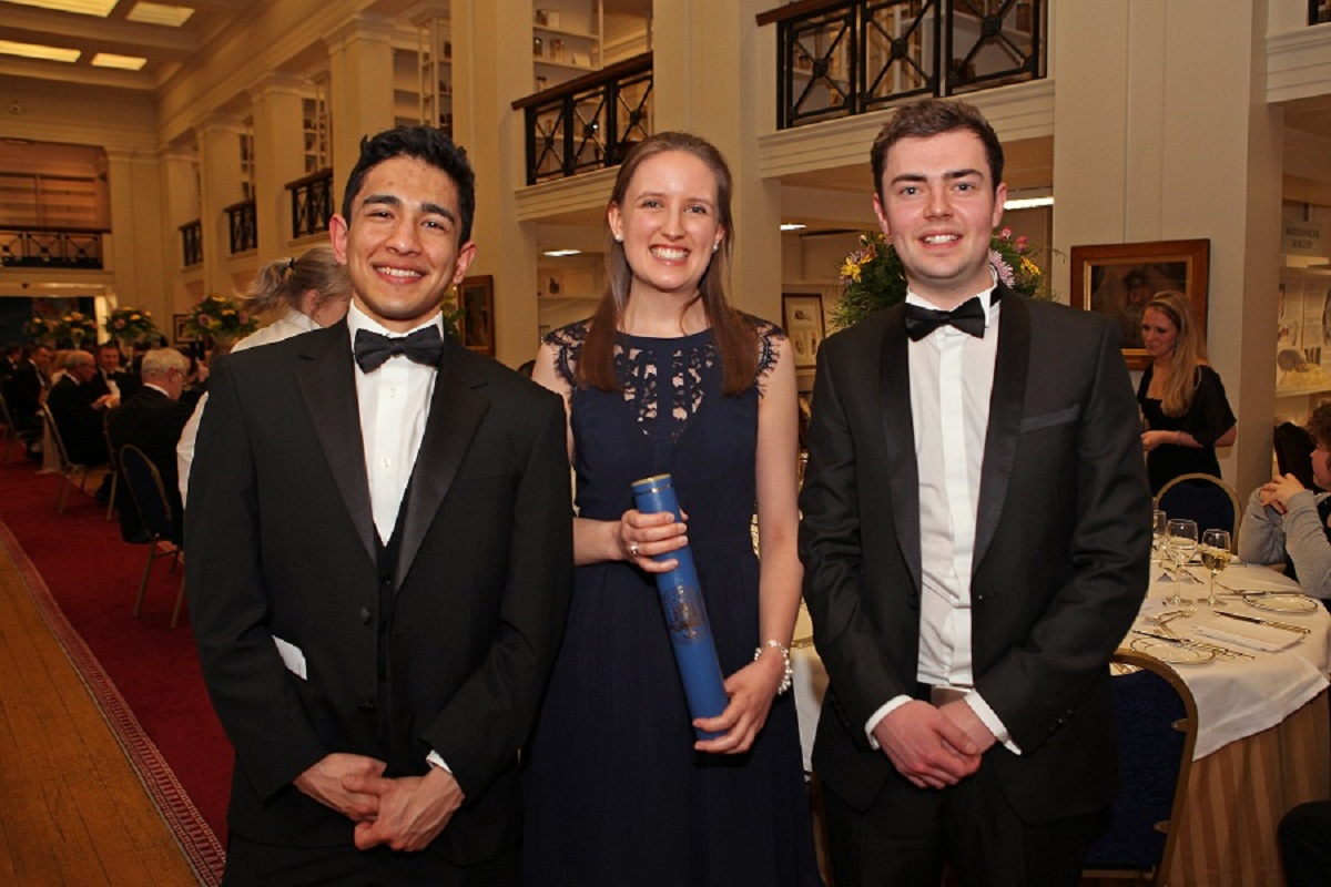 Dental student Lloyd Bovensiepen, right, from Ilkley, at the awards ceremony in Edinburgh