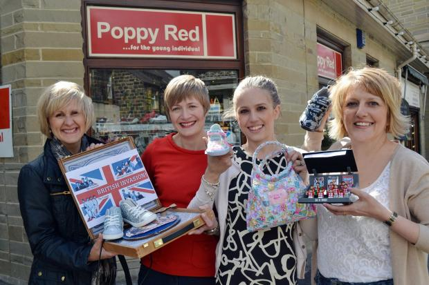 Owners of Poppy Red Jenny Rhodes, second from right, with her