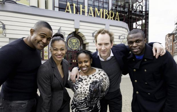 The Lion King cast members Nicholas Nkuna, Stephen Carlile, Gugwana Dlamini, Ava Brennan and Cleveland Cathnott
