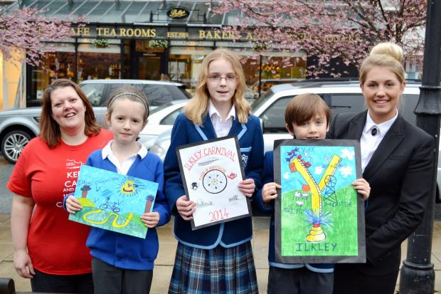 Mary Moore, Ilkley Carnival Committee member, with competition winners Matilda Irvine, Abigail Boggs, Hugo Baxter and Rebecca Utley, of Bettys