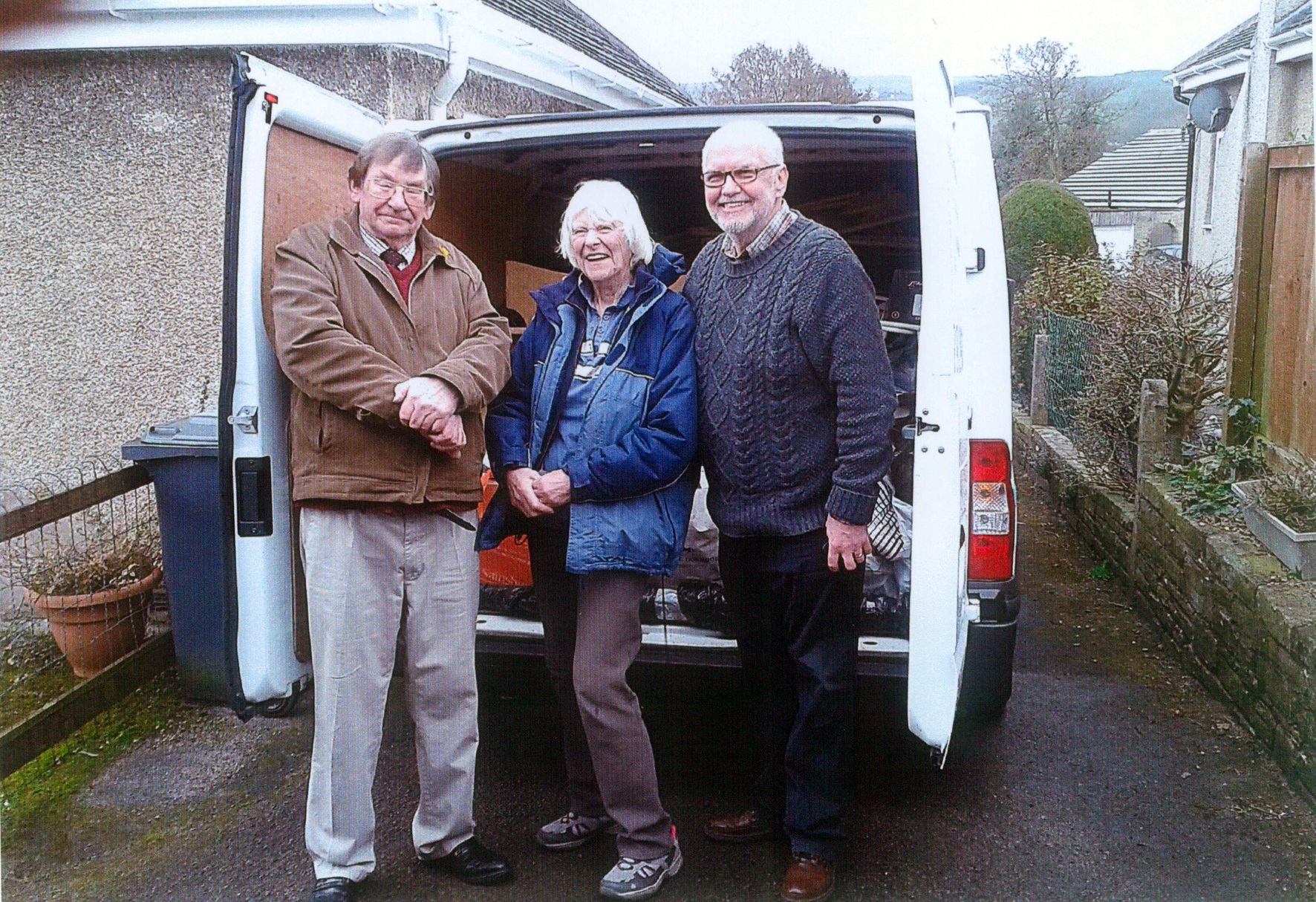 Sheila McLachlan with her drivers from Addingham, who will be taking a van full of   practical essentials to help    the victims of flooding which devastated parts of the south of England earlier in the year