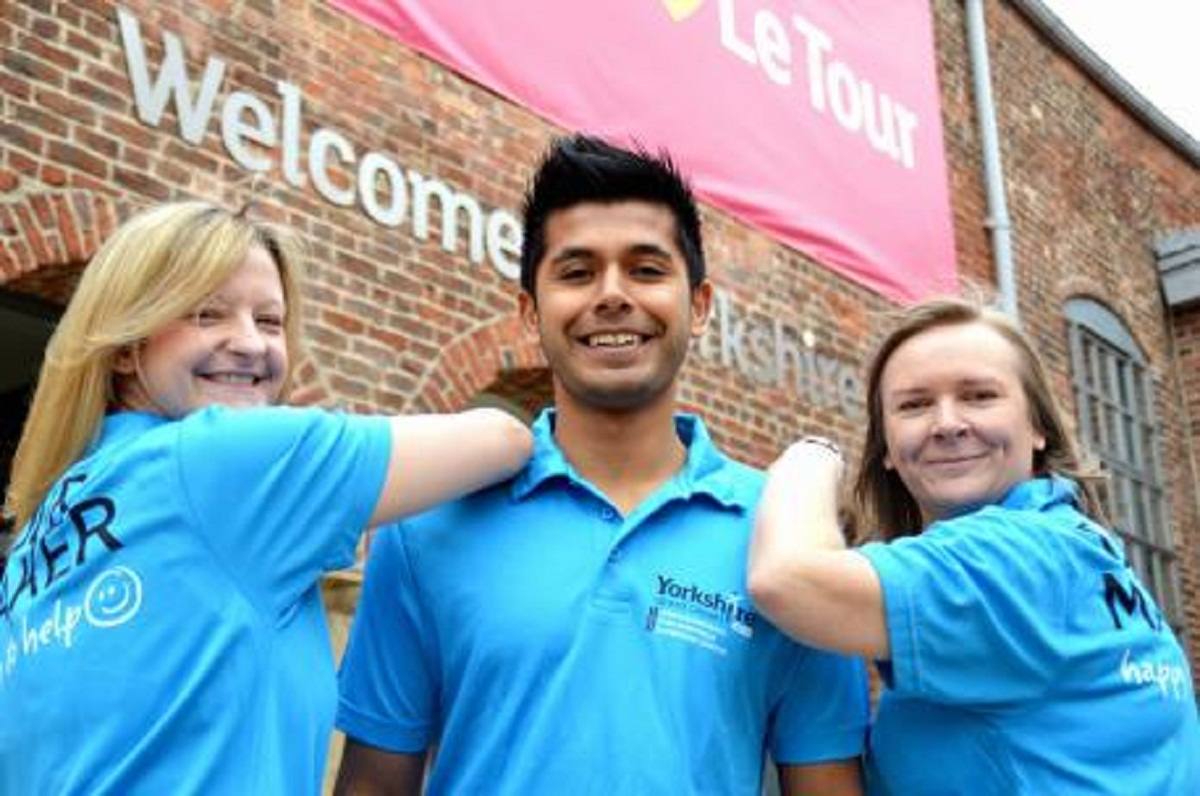 Tour de France Tour Makers Claire Brown from Rawdon, far right, with Becky Clarke and Vijay Dayalji