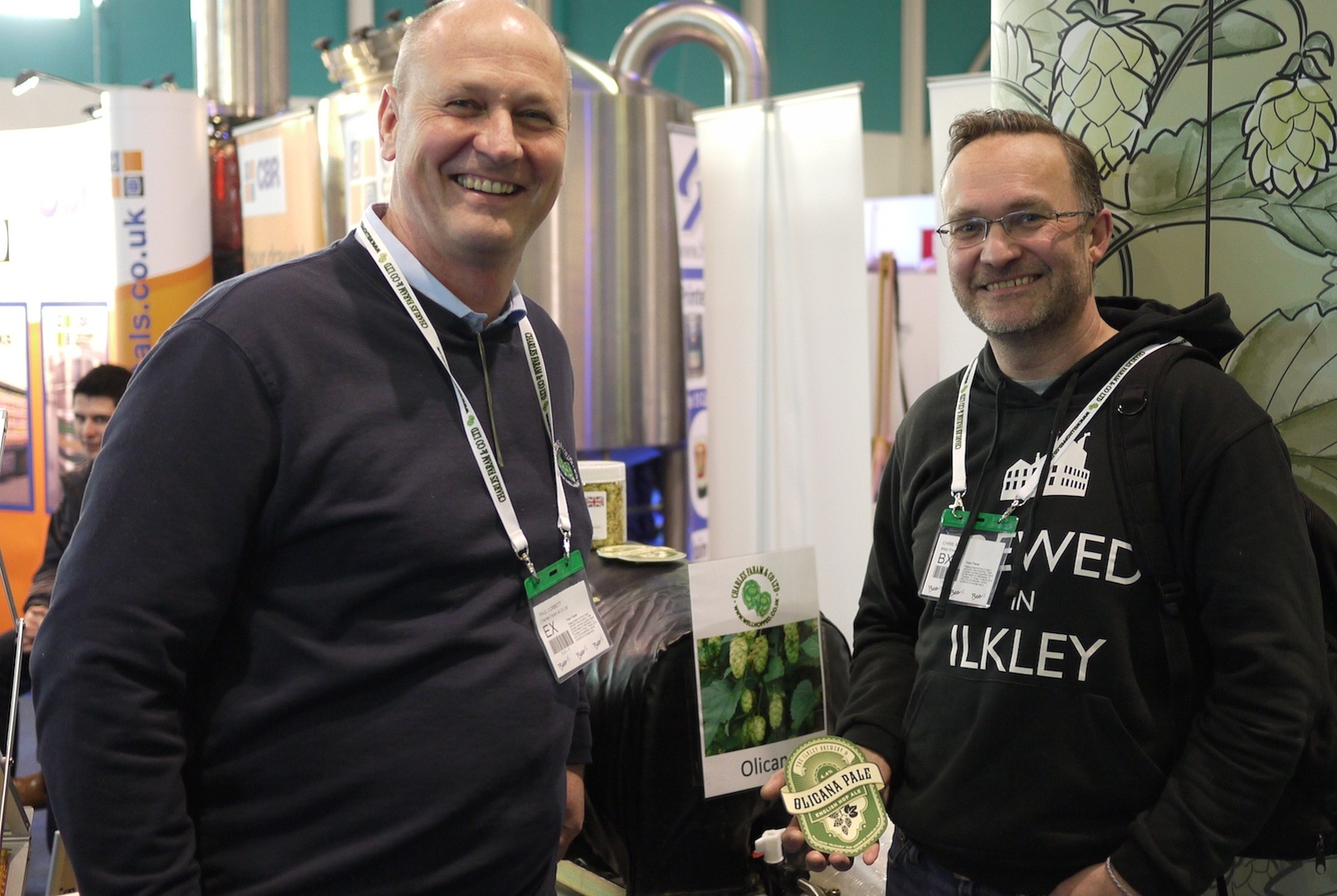 Paul Corbett, of Charles Faram and Co hop merchants, with Chris Ives, managing director of Ilkley