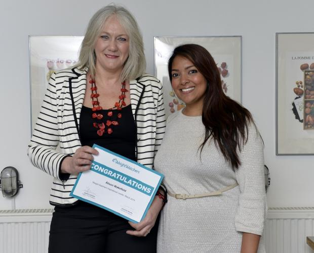 Otley and Ilkley Weight Watchers leader Alison Wakefield with   cookery author and TV chef Shelina Permalloo