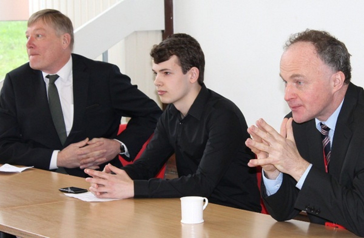 MP Kris Hopkins, left, with student Ed Saunders and John Grogan