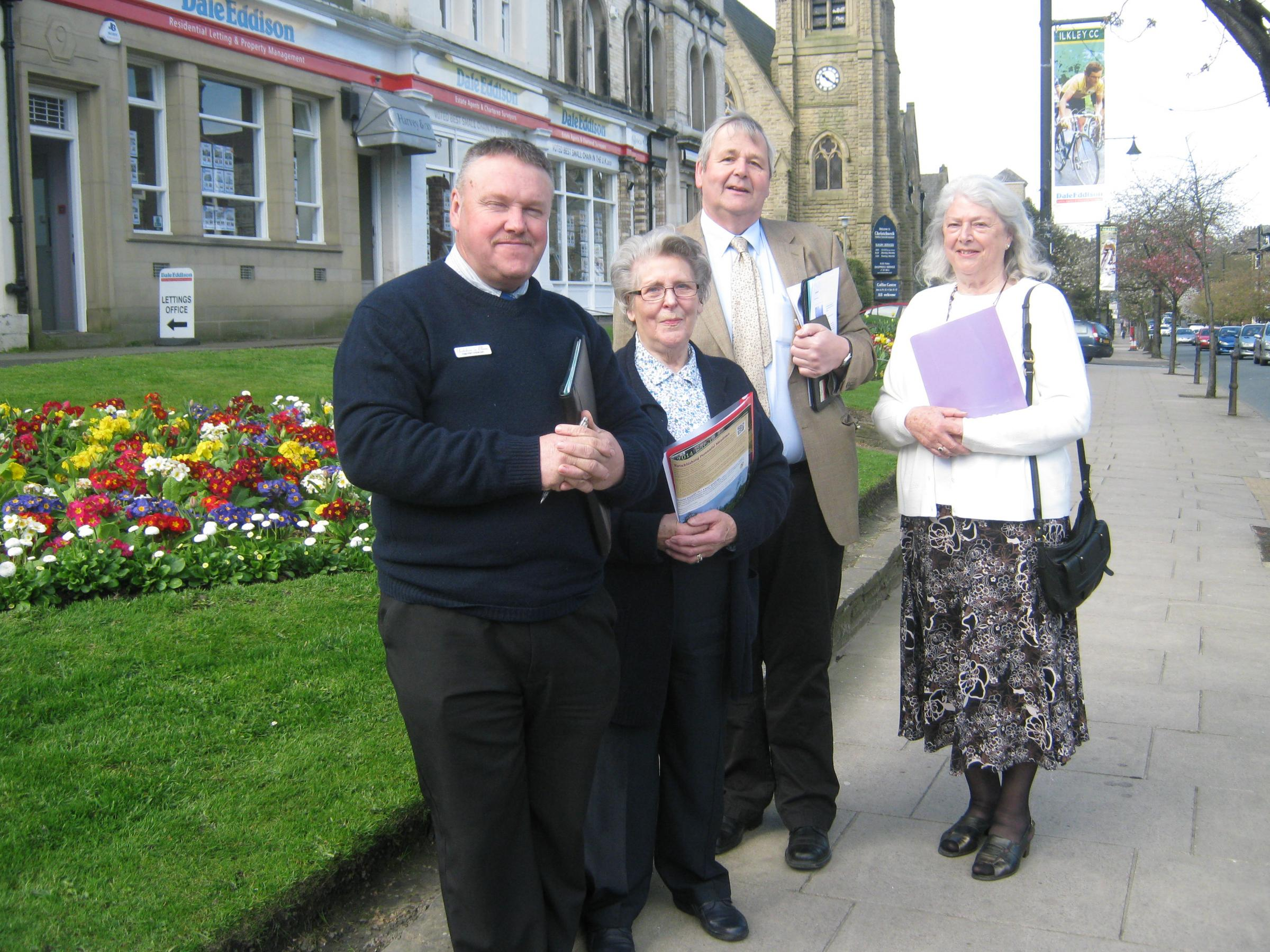 Yorkshire in Bloom judges Timothy Stewart, left, and Brendan Mowforth, second from right, with Vera Varley and Kate Brown of Ilkley in Bloom