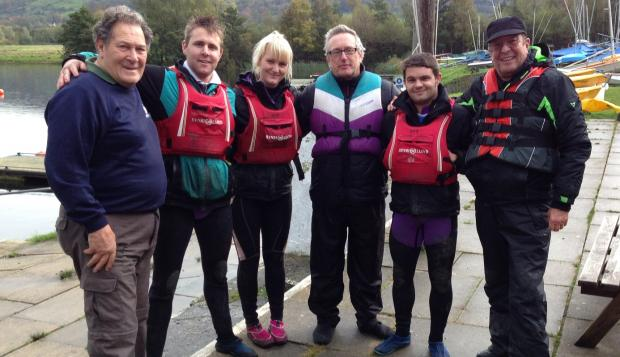 Hollybank Trust employees (from left) Frank Hemingway, Andy Powell, Farrah Roberts, Stewart and Mick Jackson, and volunteer Fred Yarwood, ready for action at Otley Sailing Club