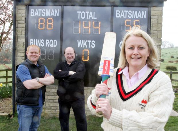 Addingham Cricket Club treasurer Graham Sutcliffe, Coun Adrian Naylor and Addingham Parish Council chairman Catherine Coates