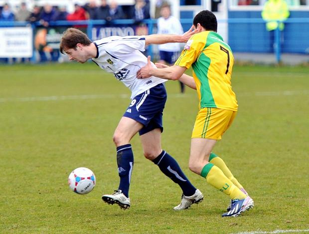 Adam Boyes, left, netted Guiseley's equaliser
