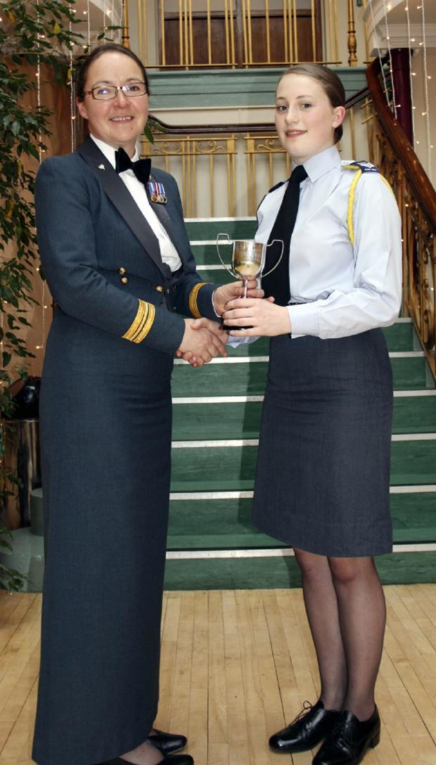 Ilkley Gazette: Flight Sergeant Kjersti Moore being presented the Musician of the Year award by Squadron Leader Sue Leighton