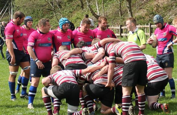 The packs of Yarnbury and Old Rishworthians prepare to scrum down last Saturday