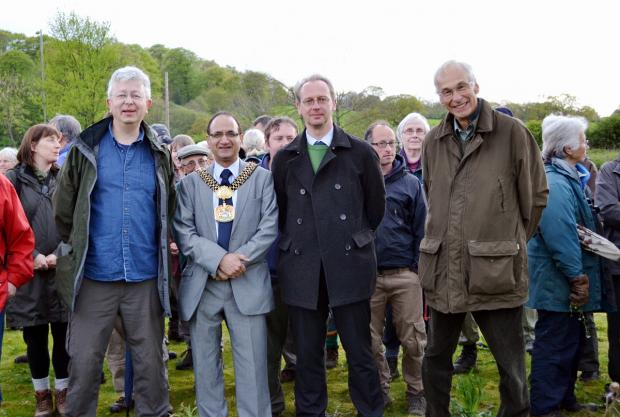 Steve Parkes of Wharfedale Naturalists, the Lord Mayor Of Bradford, Councillor Khadim Hussain, Councillor Andrew Thornton and Wharfedale Naturalists Society president, Peter Riley, at the official opening of Ben Rhydding Gravel Pits Nature Reserve