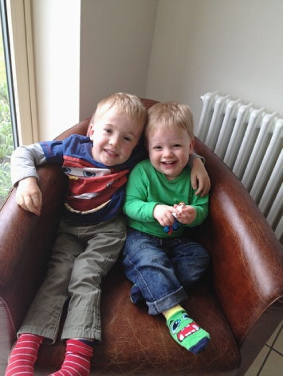 Sam Brown, left, with his younger brother Alex