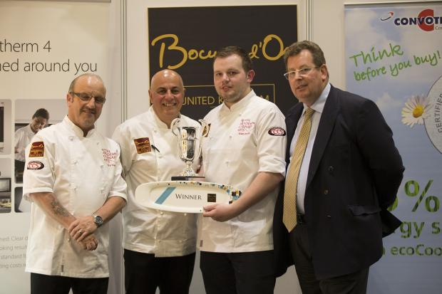 Adam Smith, second right, with, from the left, Nick Vadis (Culinary Director at Compass Group and UK candidate 2009 & 2013 ), Andres Antona (former chef & restaurateur) and John Williams (chairman of the Bocuse d'Or UK team)