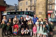MP Greg Mulholland (blue shirt) joined pupils and parents, along with Councillor Sandy Lay for the group walk to school