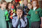 Head teacher Andrew Soutar becomes centre stage in a rehearsal of pupils' upcoming puppet show