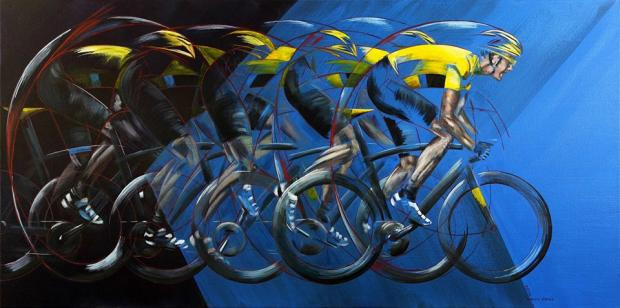 Ilkley Gazette: Tour de France artwork currently on display at TOGS gallery in Otley