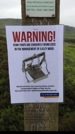 The warning signs, which have been put up on Ilkley Moor by anti-bloodsports campaign group Ban Bloodsports on Ilkley Moor (BBIM)
