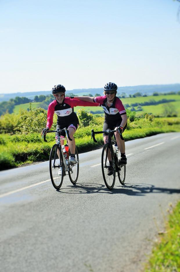 Ilkley Gazette: Caption:  Two riders enjoying the first ever Otley Sportiva. (6663314)