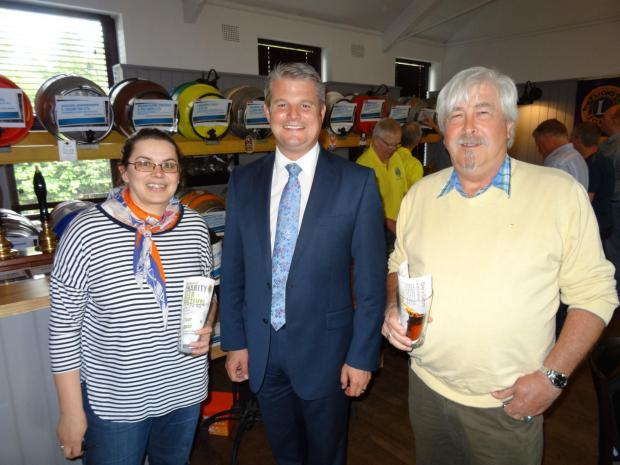 Ilkley Gazette: (6880740) Wesley's mum Catherine (left) and grandad Trevor Platt (right) with MP Stuart Andrew.