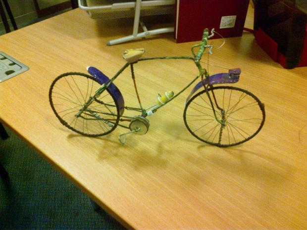 Ilkley Gazette: A model cycle, one of eight to be donated to Burley-in-Wharfedale, by children in Bamako, the captial of Mali. The models will be on display on Saturday, July  5 in Burley-in-Wharfedale Methodist Church.