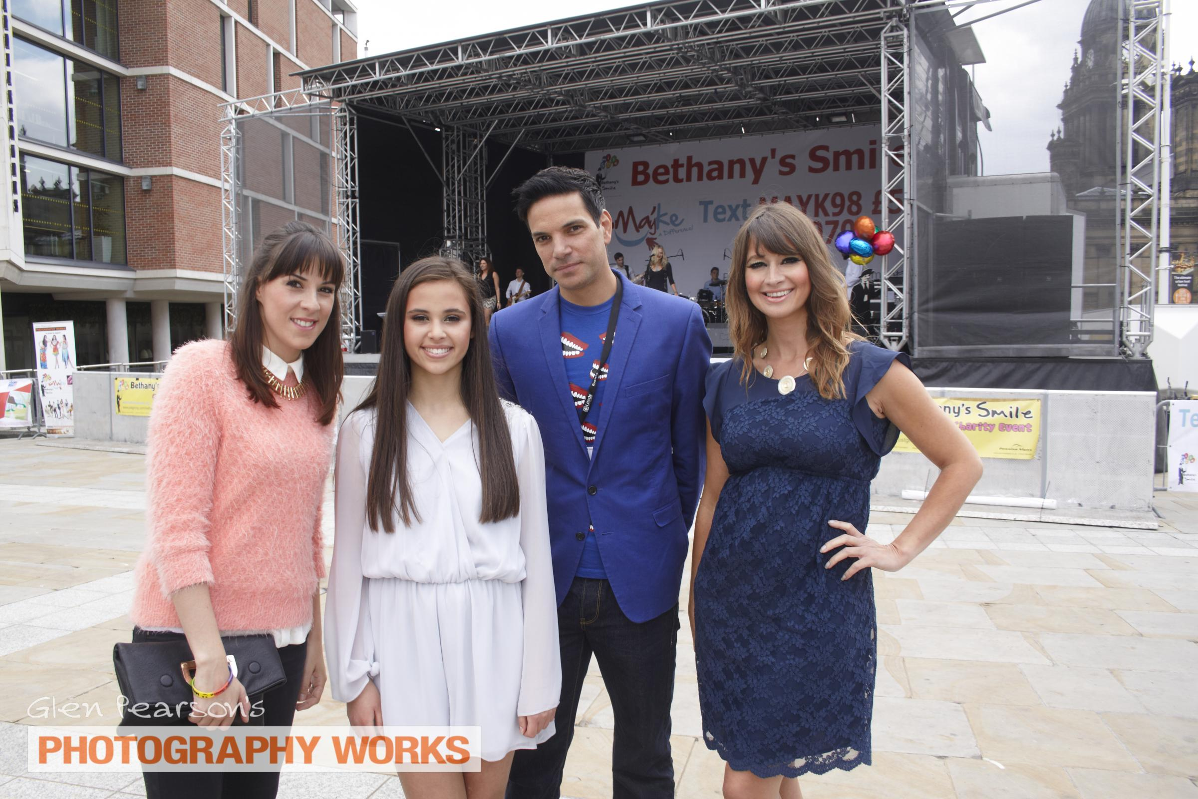 (7032286)Left to right  -Emmerdale  Actress Verity Rushworth, Bethany Hare, Matthew Bose from Emmerdale, BBC TV presenter Ellie Crisell.