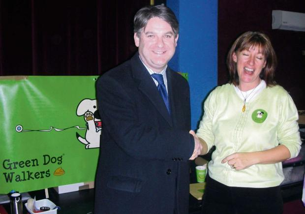 Ilkley Gazette: Julie with Philip Davies at the launch, the other is of a local dog walker and Green Dog pledger.  (7055585)