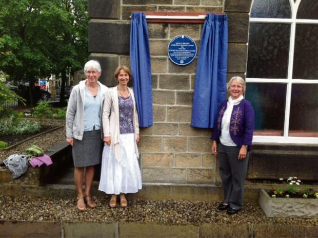 Ilkley Gazette: Caption: Pastor William Gale's three granddaughters, Ros Hay, Stella Imong and Felicity Gibling, at the unveiling of the blue plaque at Mount Hermon Chapel, Addingham