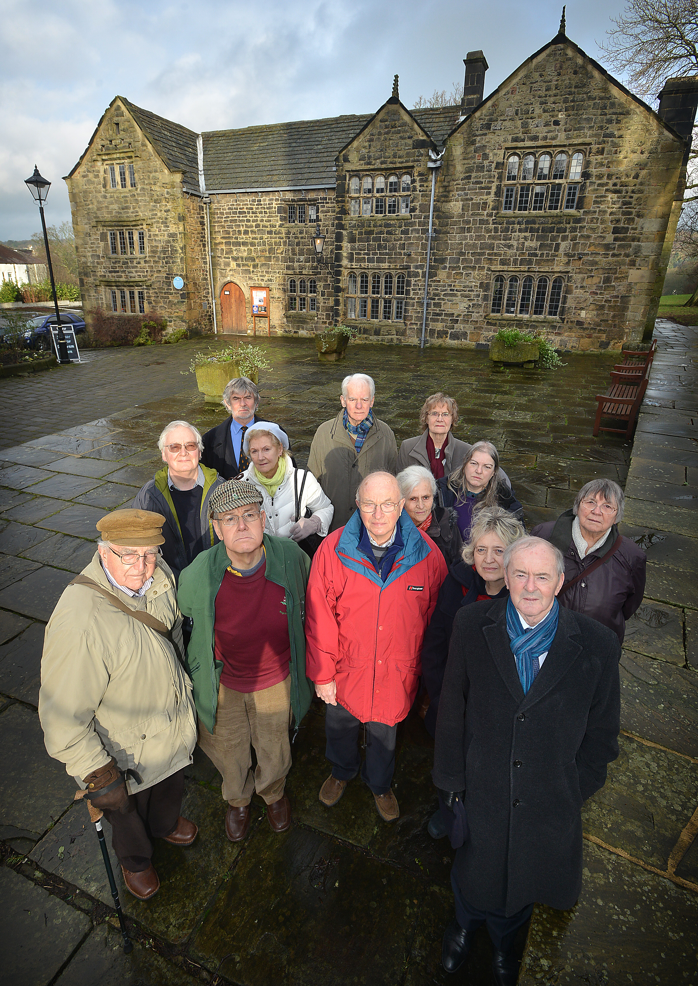 Friends of Ilkley's threatened Manor House Museum gather outside to campaign against it's closure earlier this year