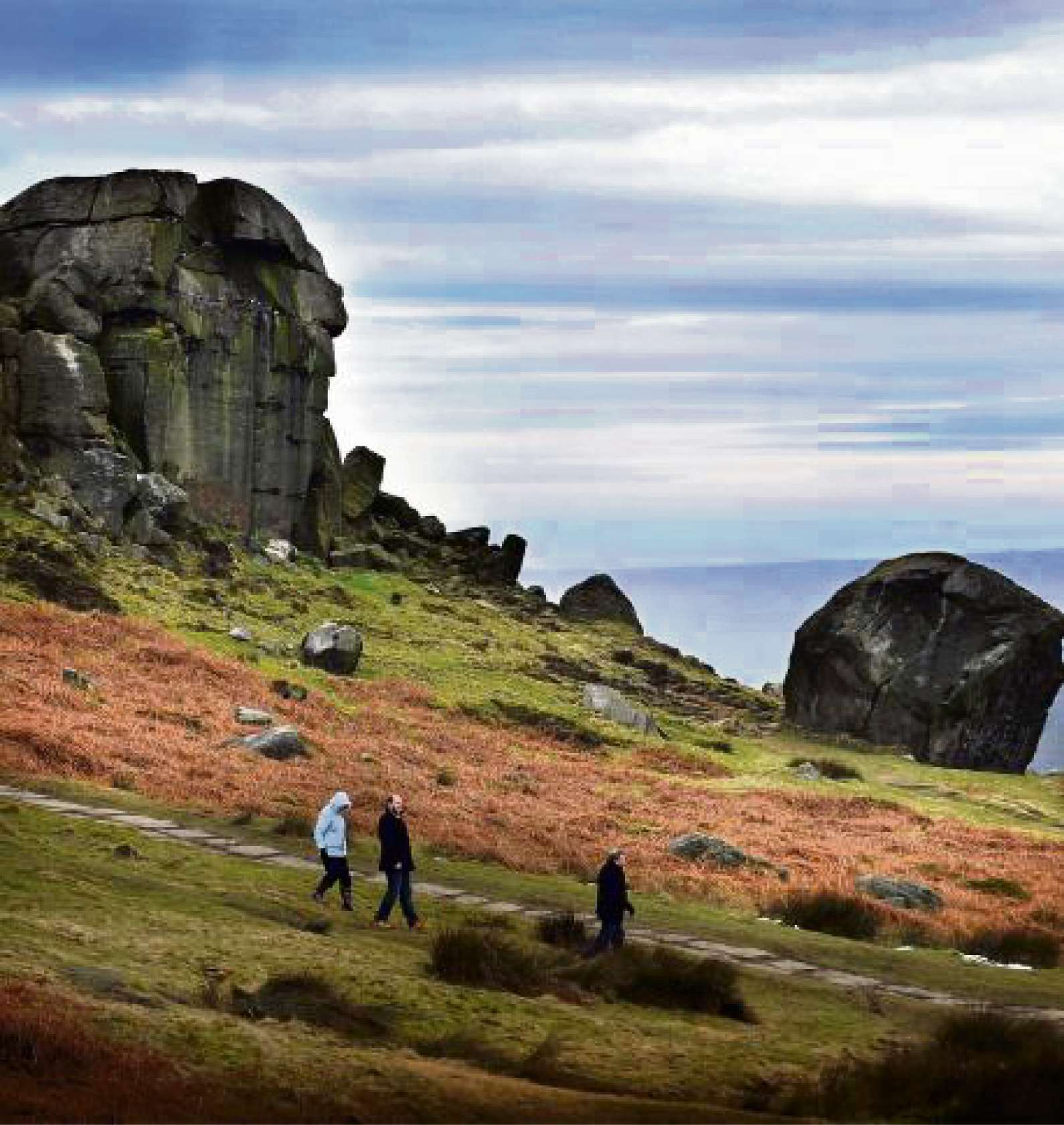 The Cow and Calf Rocks at Ilkley which are a magnet for tourists