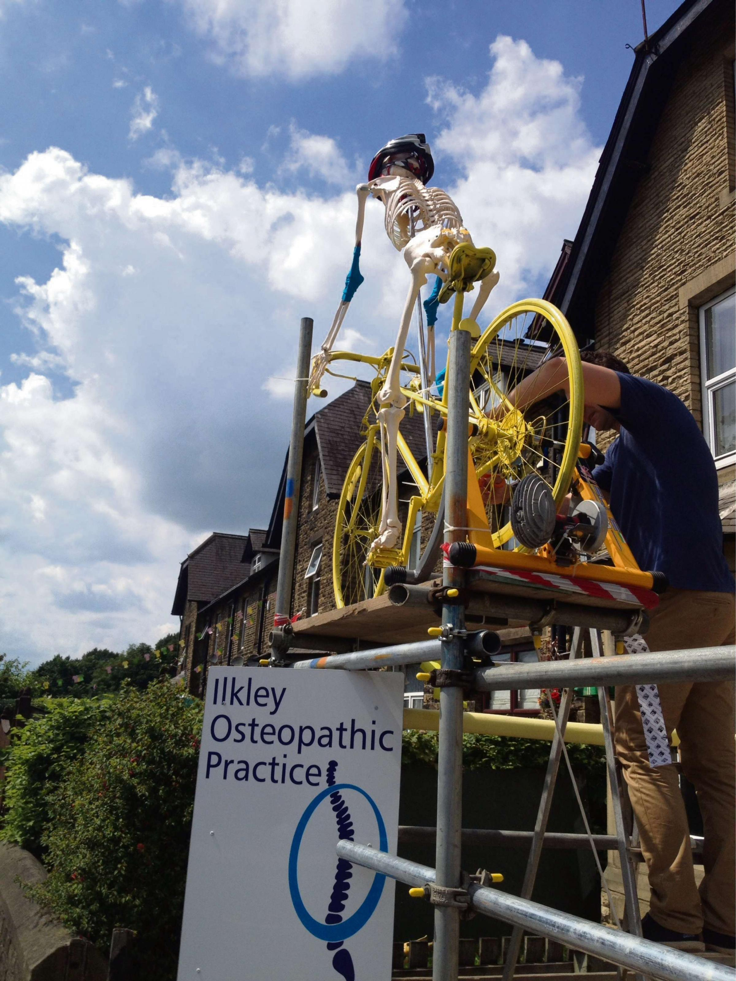 VIDEO: 'Skeleton Steve' gets on his bike at Ilkley osteopaths for Tour de France