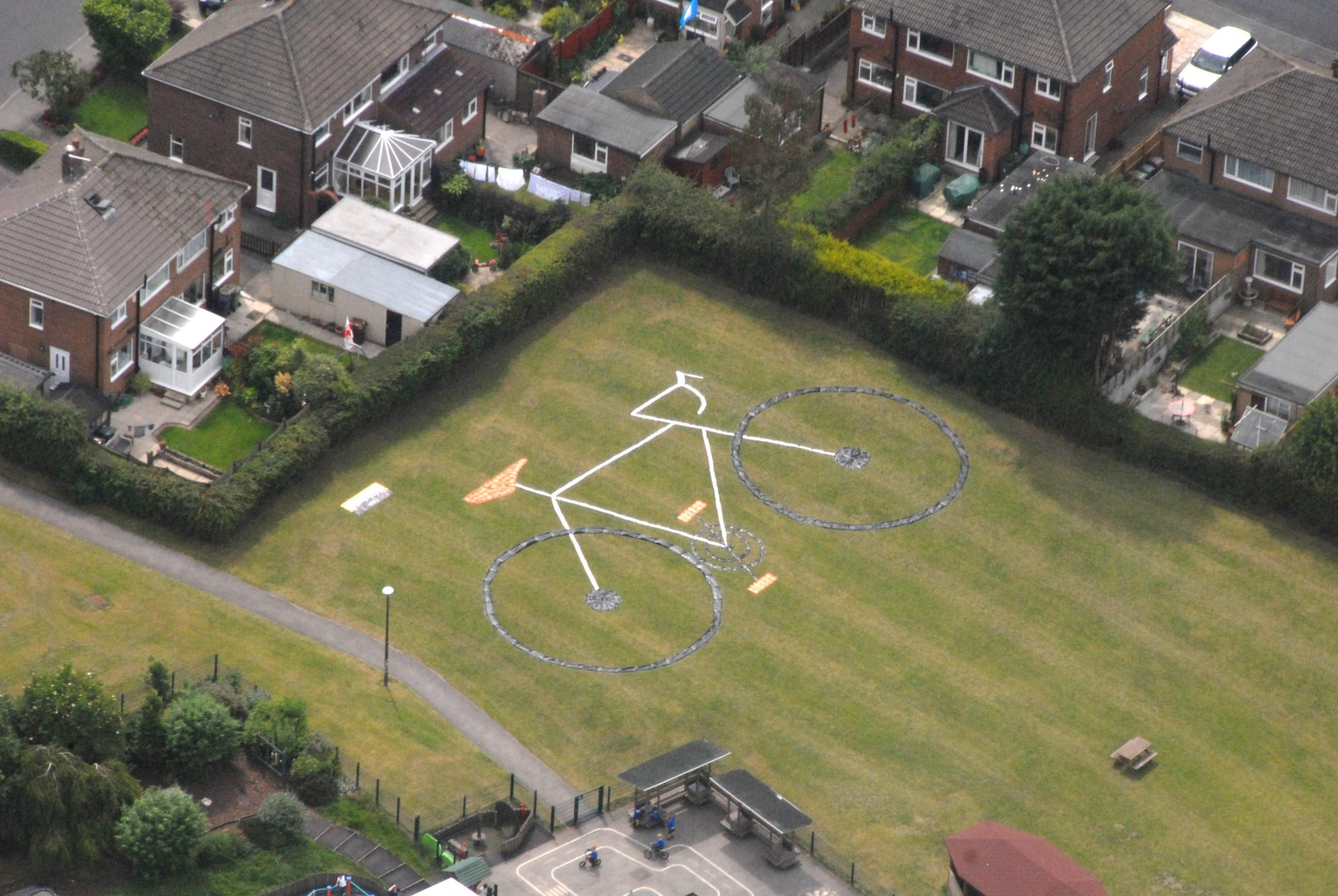 Police capture aerial shot of Otley school's giant bike