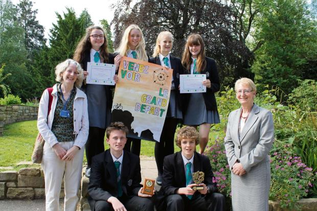 Pictured below are top row Catherine Boyle, Laura King, Milly Horn and Sarah Yorke, with bottom row Ethan Thompson and Nathan Spiller with Diane Kitchen (Languages teacher) left and Gillian James (Headteacher) right.