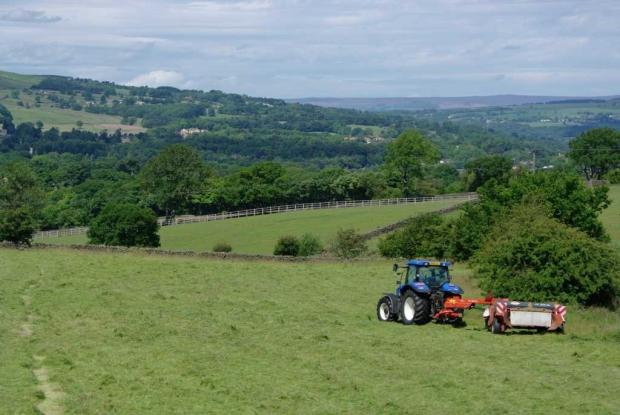 A view of the open countryside below the Chevin, looking towards Menston