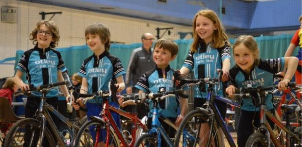 Otley Cycle Club's junior riders at the Yorkshire Roller Racing Championships 2014 - (left to right) Zachary Quin, James Luxton, Daniel Middlebrooke, Emily Middlebrooke, Kitty Quin.