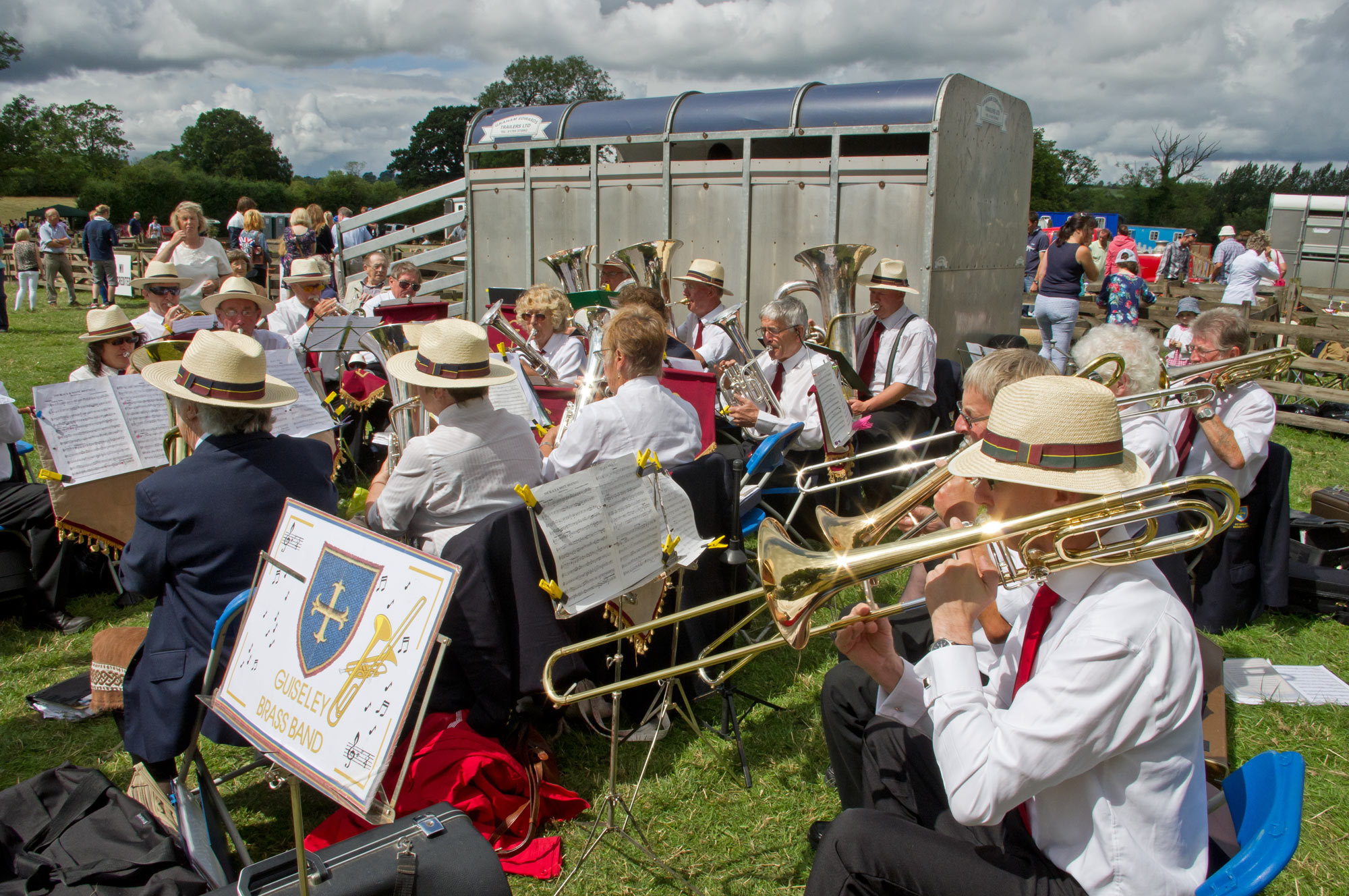 Guiseley Brass Band delighting the crowds at the 2014 Weeton Show.
