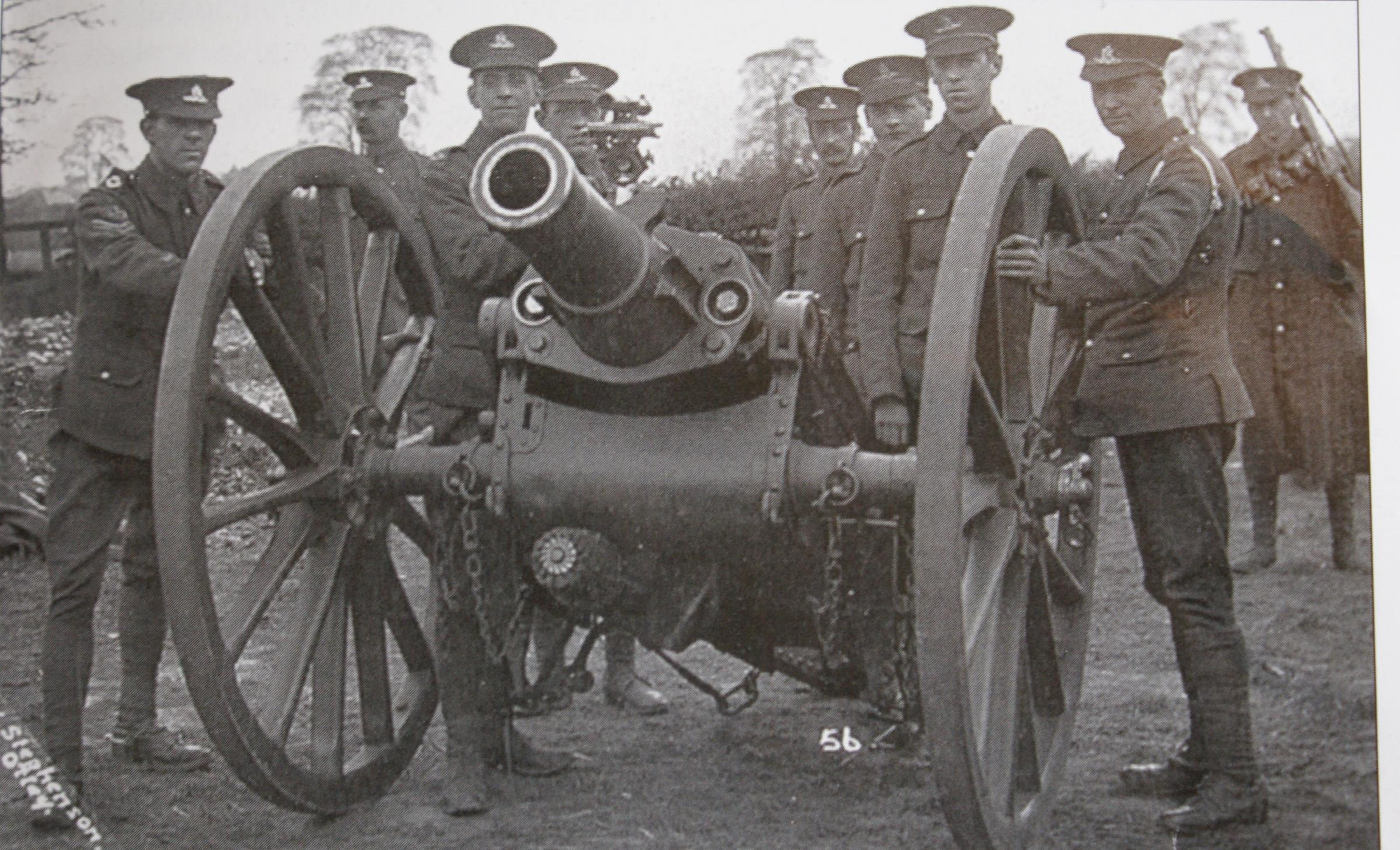Members of the 4th West Riding Howitzer Brigade with 5 inch Howitzer known as the Boer War gun, used on the Ypres front, 1915