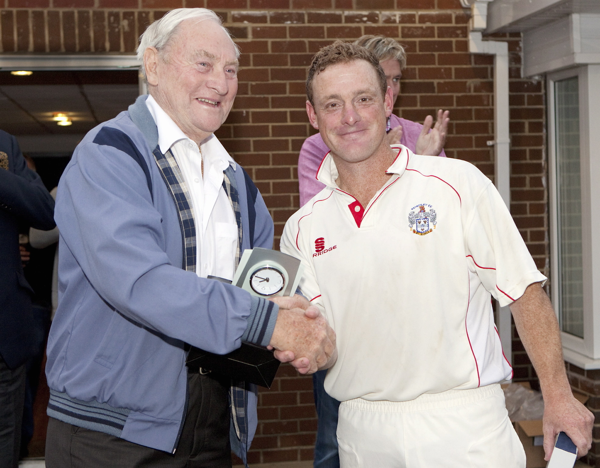 Priestley Shield final 2012 Keighley 2nd v Woodlands 2nd Richard Wood man of match award from Ray Illingworth (9258301)