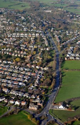 An aerial view of Bramhope, looking north