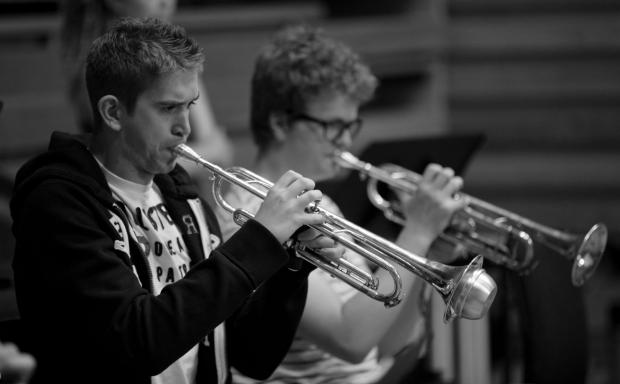 Trumpeters from the National Youth Music Theatre orchestra