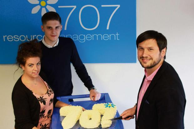 (left to right): Celebrating five years - 707 Resource Management's Helen Hayward, John Verity and David Adams.
