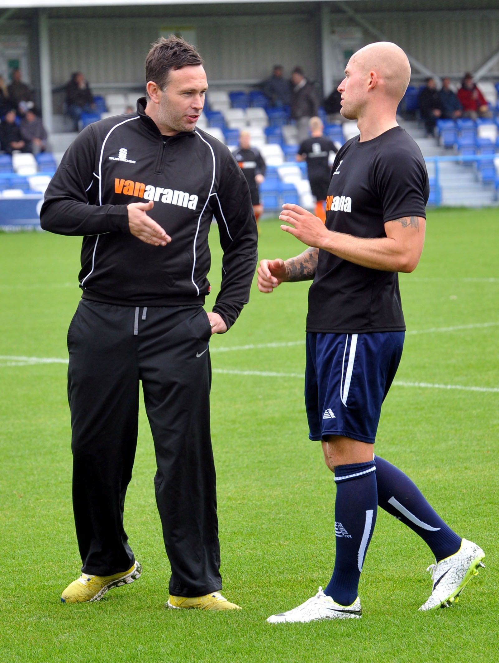 Guiseley boss Mark Bower makes a point