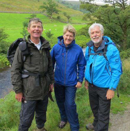 (Left to Right) John Sparshatt, Claire Balding, and Randal Metzger on their Buckden to Beckermonds walk.
