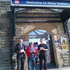 Ilkley Gazette: John Grogan with Labour Party members Sandy MacPherson and Michael Abrams at Ilkley station