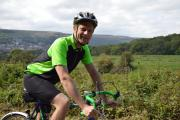 Ilkley Grammar School English teacher Andrew Colman takes a breather on his Ilkley Triathlon cycling circuit practise
