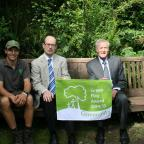 Ilkley Gazette: Phill Judd of Green Heart, Darwin Gardens project manager, Councillor Heathcliffe Bowen, and Ilkley Parish Council chairman, Councillor Andrew Walbank