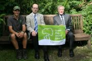 Phill Judd of Green Heart, Darwin Gardens project manager, Councillor Heathcliffe Bowen, and Ilkley Parish Council chairman, Councillor Andrew Walbank