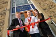 Head boy David Dolding, Commonwealth gold medallist Nile Wilson and head girl Kara Farrar celebrate the opening of the new Fulneck School sixth form centre