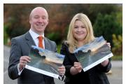 From left, Gareth Hughes, senior finance manager, who won the staff photo competition and whose photo is featured on the front of the charity calendar, and Sarah Nazer private client paralegal in the personal law department of LCF Law – a sponsor of the