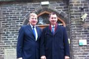 Keighley MP Kris Hopkins, left, with Health Secretary Jeremy Hunt outside Manorlands